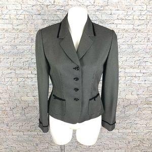 Tahari Black White Blazer 6P